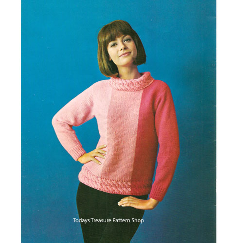 Striped knitted pullover pattern in Dawn Knitting Worsted