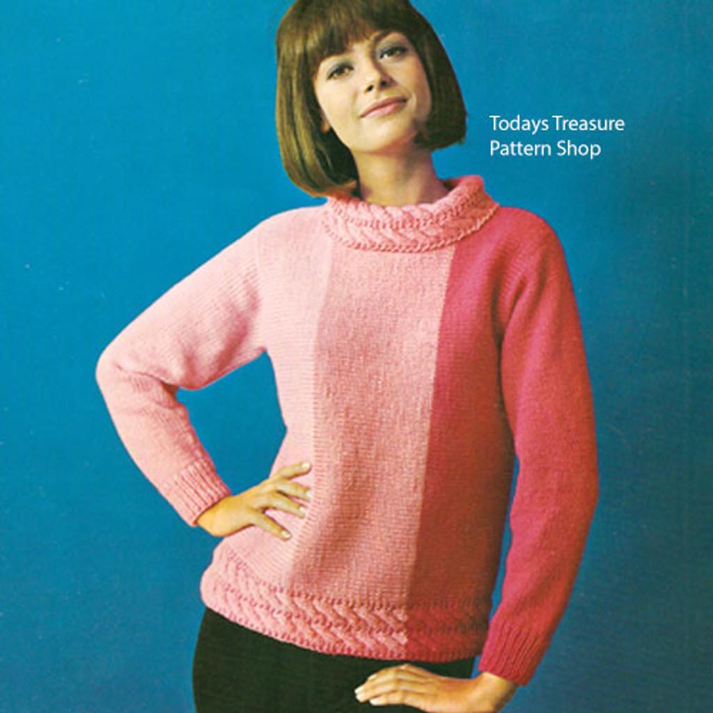 Knitting Pattern Tri-Color Sweater Pattern