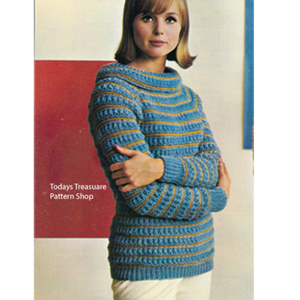 Vintage Knitting pattern, Striped Sweater with Cowl Neck