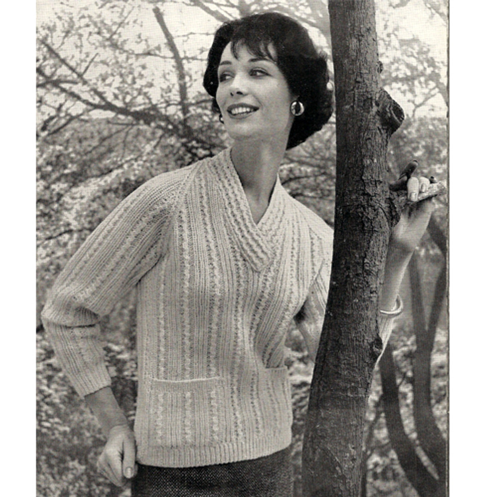 V-Neck Knitted Sweater Pattern in Knitting Worsted