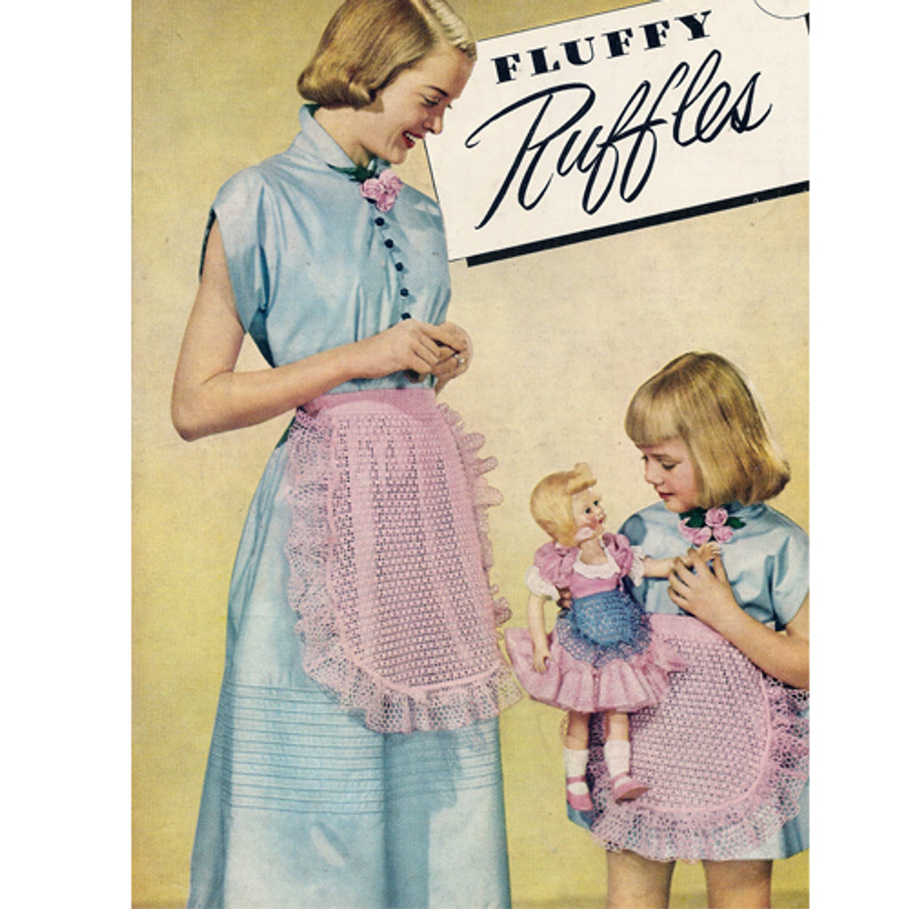 Crochet Ruffled Lace Apron Pattern, Vintage 1950s