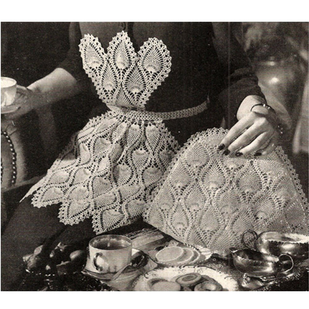 Vintage Pineapple Apron Crochet Pattern with Tea Cozy