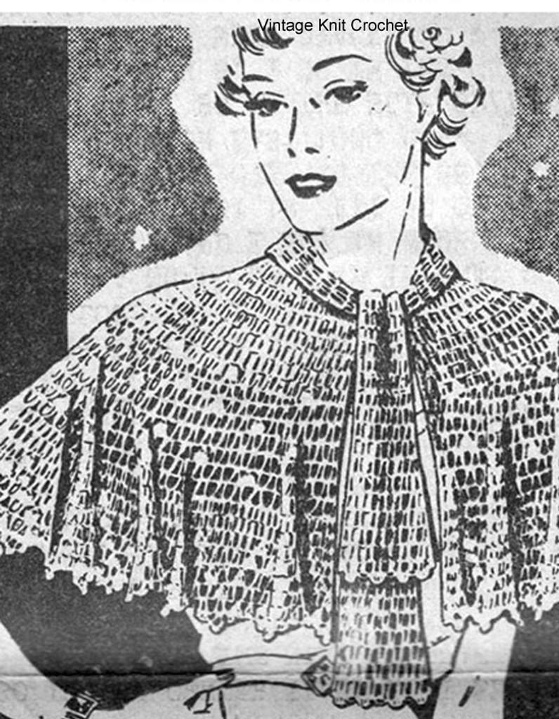 Crochet Lace Capelet Pattern,  Alice Brooks 5360