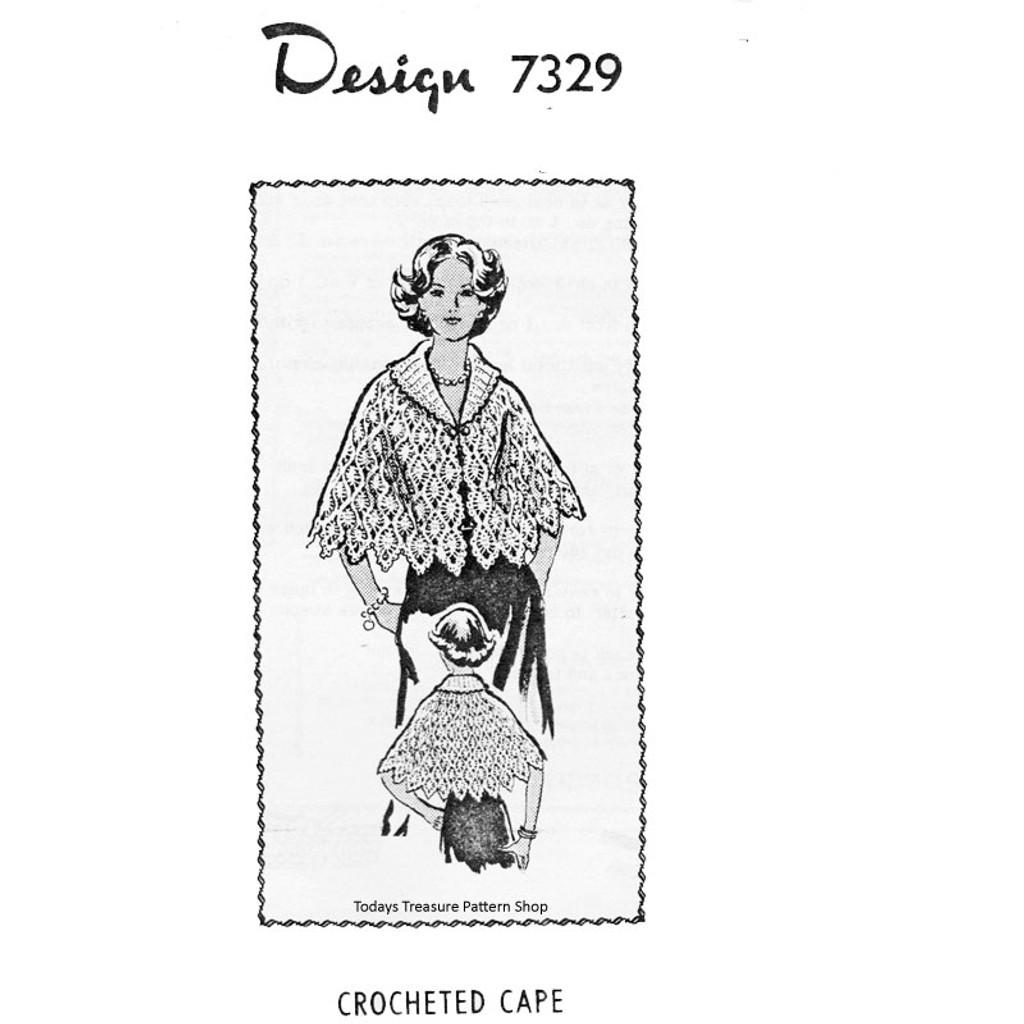 Mail Order Design 7329, Crochet Pineapple Cape Pattern