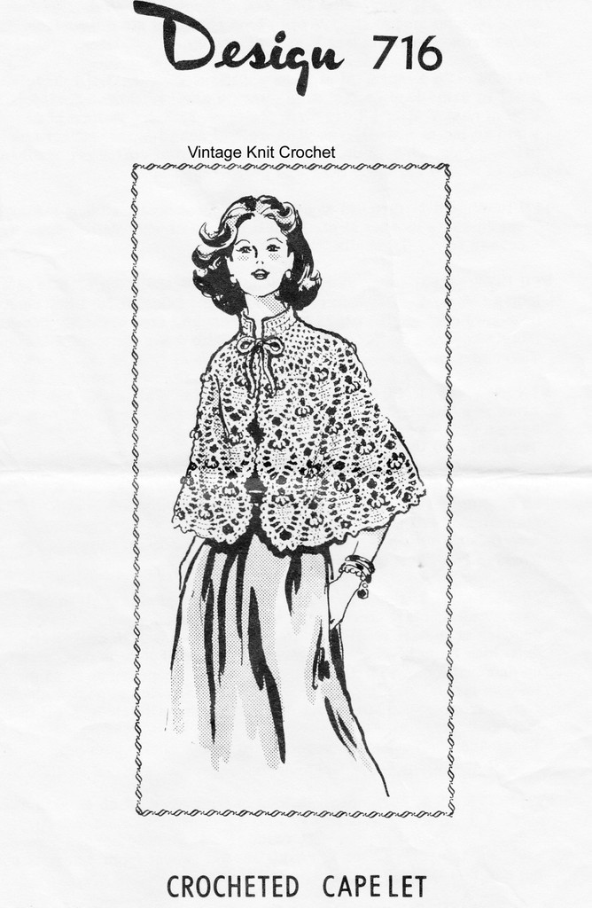 Crocheted Pineapple Cape Pattern, Vintage Mail Order 716