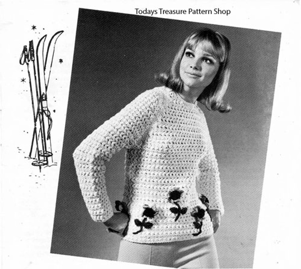 Easy Crochet Sweater Pattern with flower embroidery