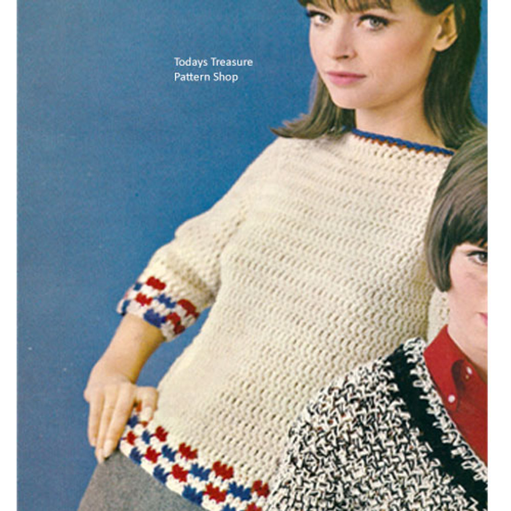 Checkerboard Trim Crochet Sweater Pattern