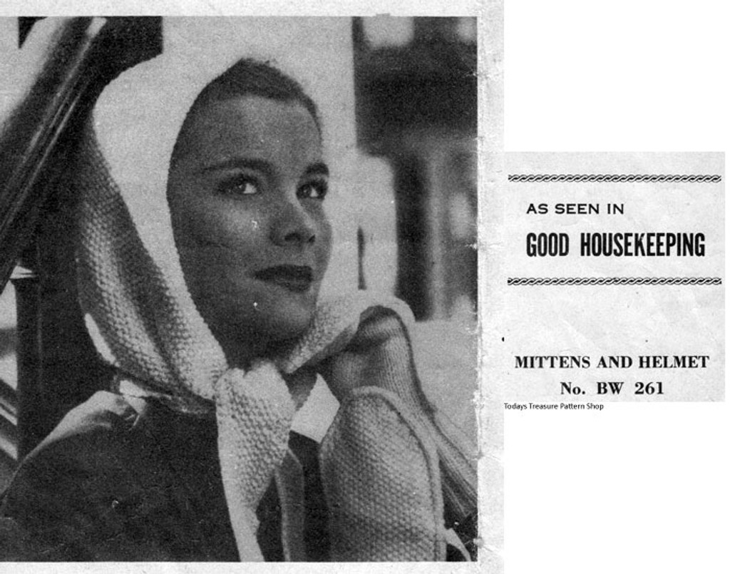 Free Hooded Scarf Mittens Knitting Pattern Bw 261 Vintage Knit