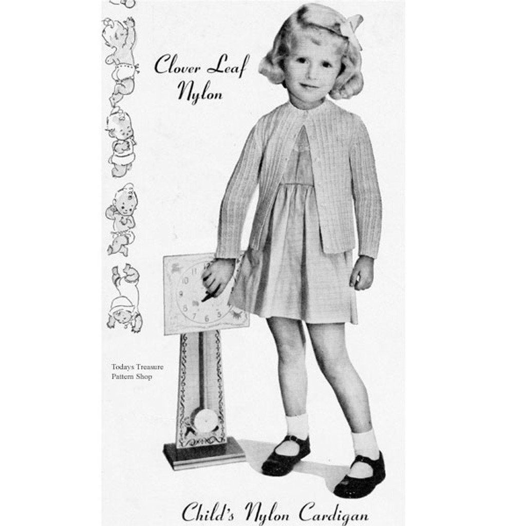 Toddler Knitted Cardigan Pattern, Vintage 1950s