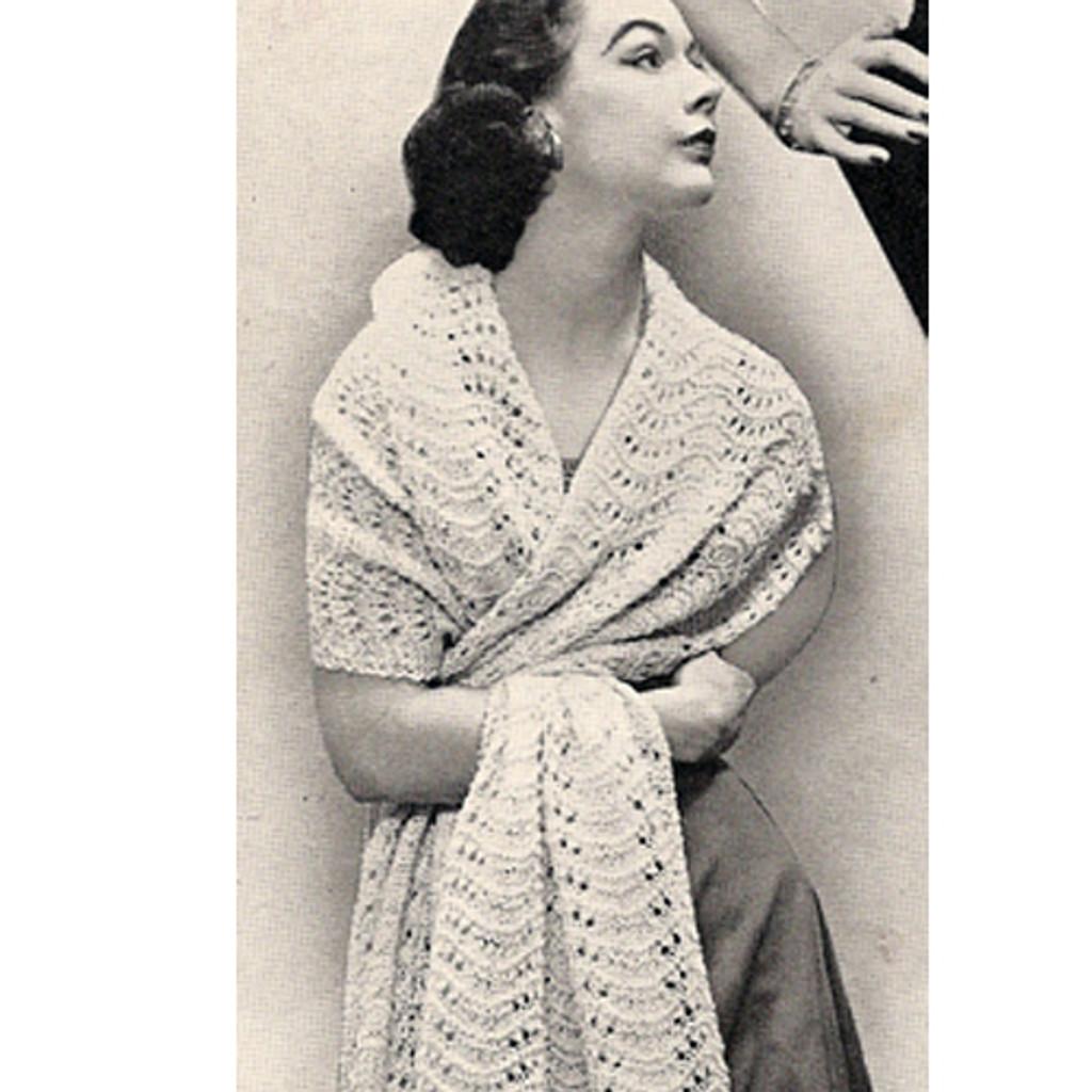 Knitting Pattern Stole in Feather Fan Stitch