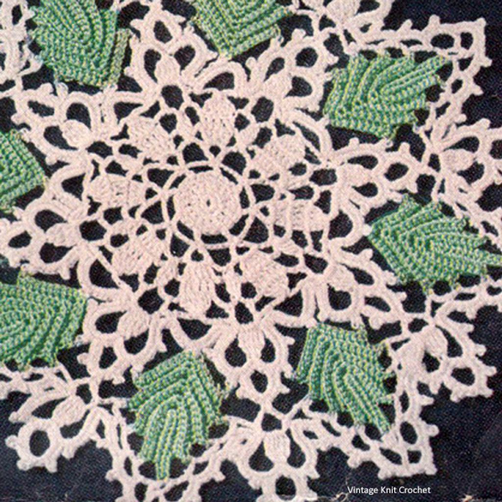 Vintage Crocheted Leaf Doily Pattern