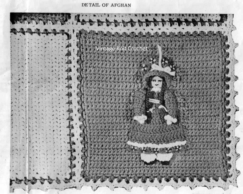Crochet Doll Applique for Crochet Afghan Pattern No 7319