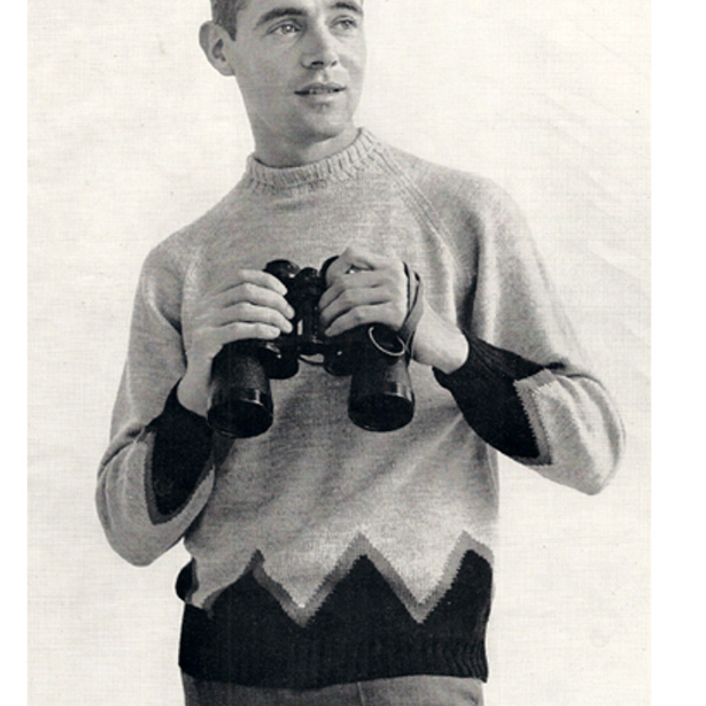 Mans Raglan Pullover Knitting Pattern with Contrast Band