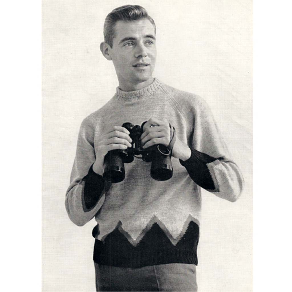 Mans Knitted Pullover Sweater Pattern with Contrast Stripe