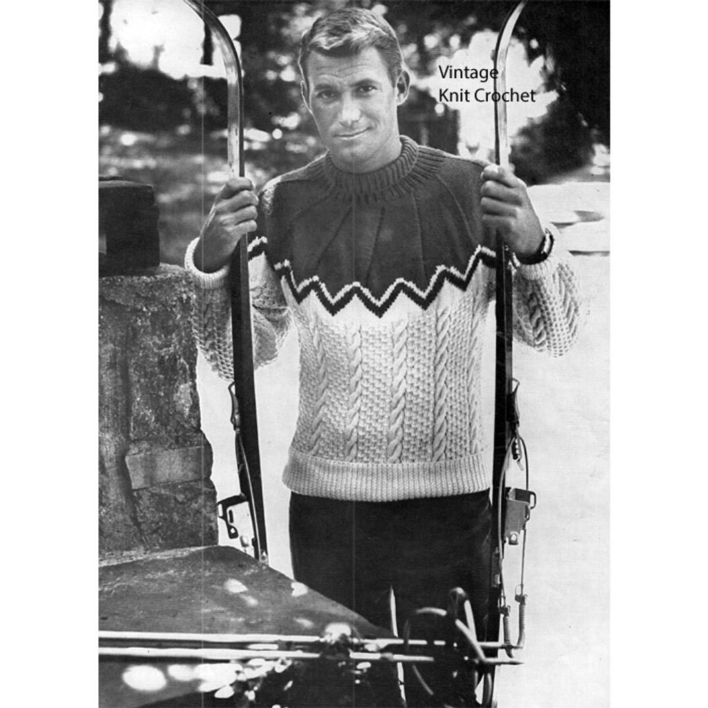 Mans Pebble Knitted Ski Sweater Pattern
