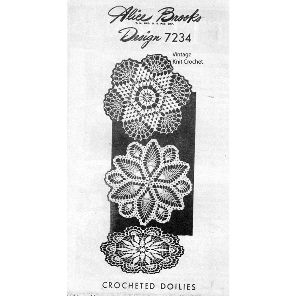 Mail Order Design 7234, Three Crocheted Doilies Pattern