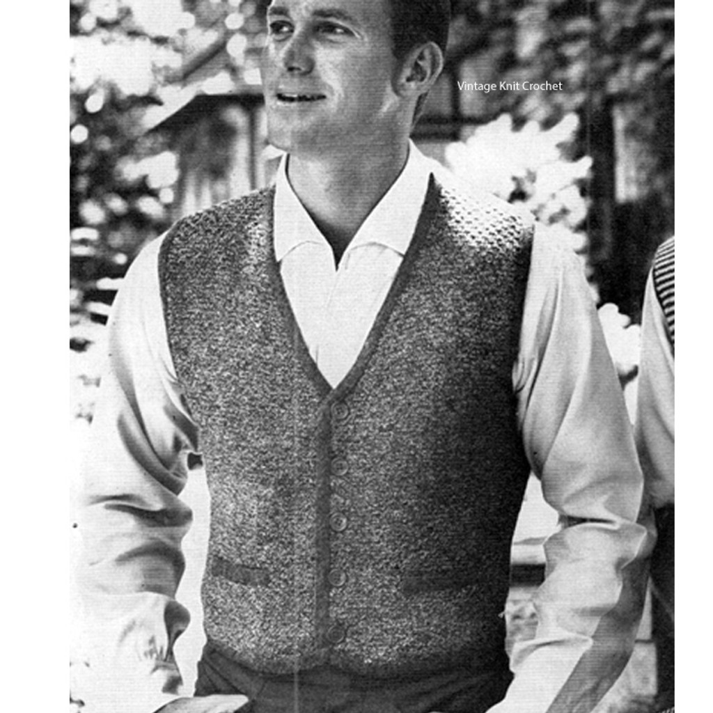 Mans Knit Vest Pattern No 4043