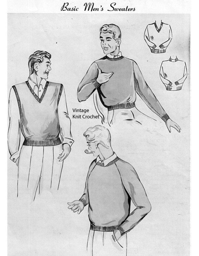 Mans Sweater Vest Knitting Pattern, Vintage 1950s