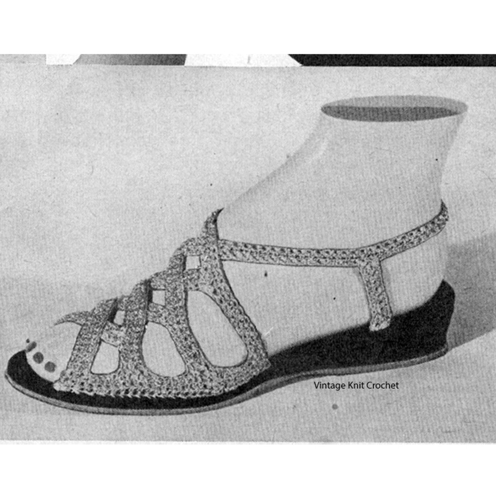 Vintage Crocheted Sandals Pattern Wedge Sole