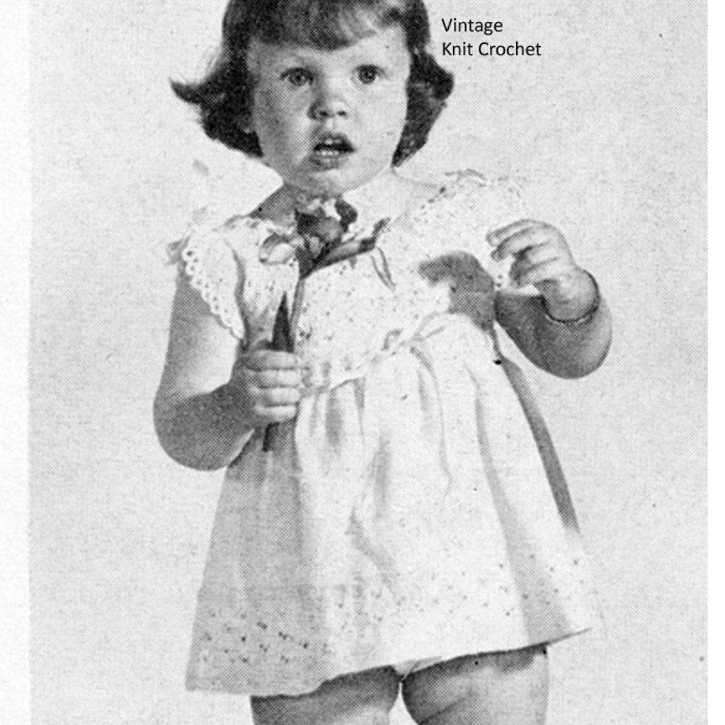 Vintage Baby Dress Knitting Pattern, Eyelet Trimmed