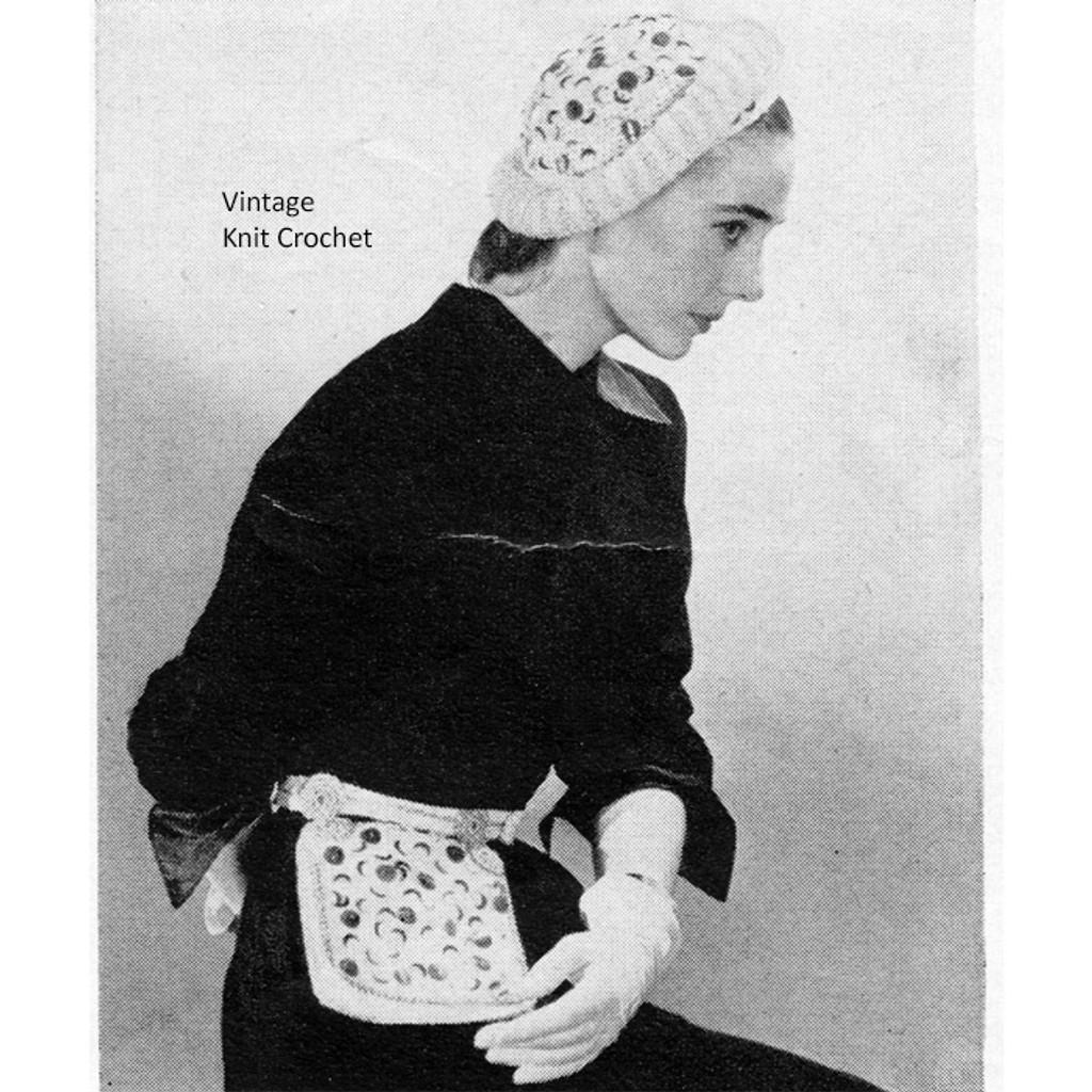 Vintage Crochet Hat, Fanny Pack Pattern