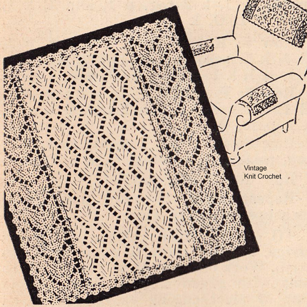 Knitted Leaf Scarf or Chair Set Pattern from Workbasket