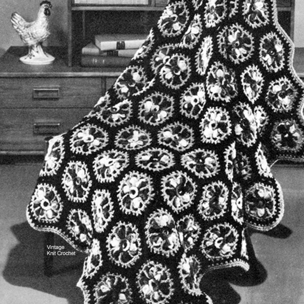 Vintage Crochet Afghan Pattern in Variegated Knitting Worsted