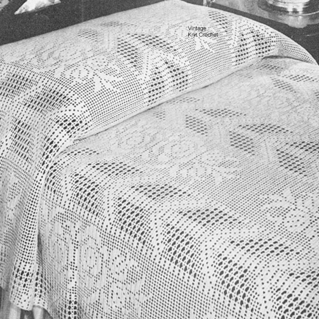 Filet Crochet Bedspread Pattern Arrow And Rose