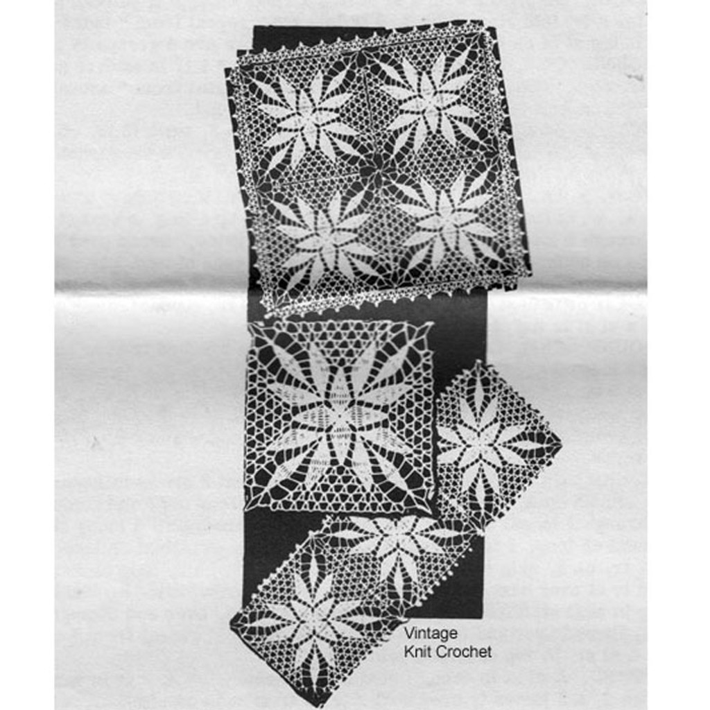 Alice Brooks 7244, Crochet Square Tablecloth Pattern