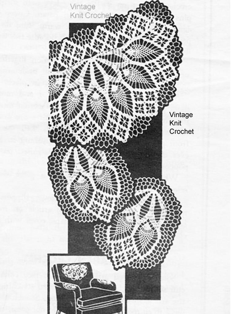 Mail order crochet chair set, pineapple stitch, Laura Wheeler 859