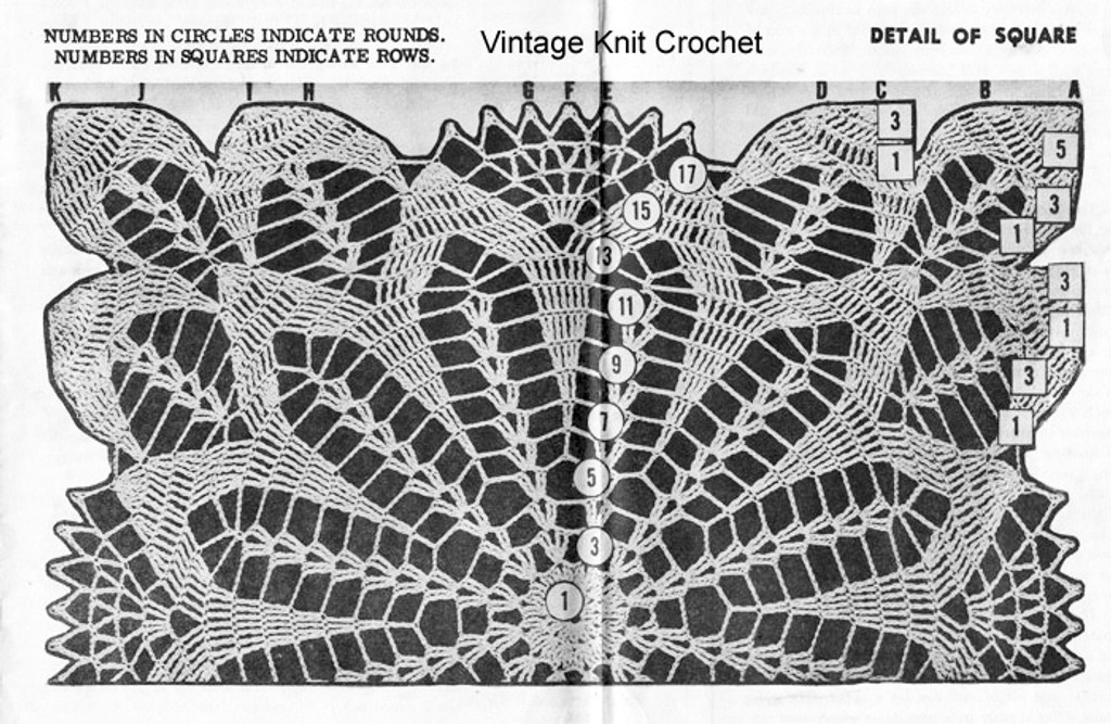Crochet Square Pattern Stitch Illustration, Design 741, Flower Motif