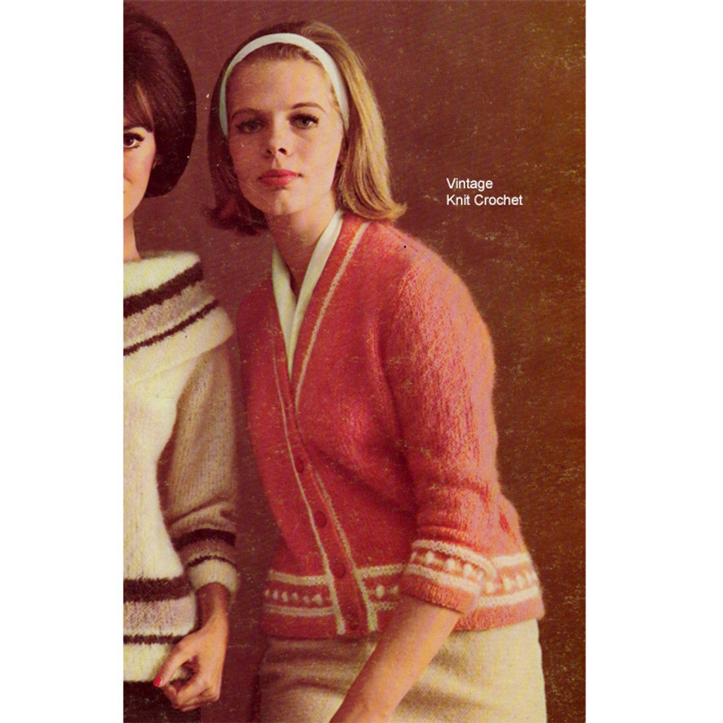 Knitted Mohair Cardigan Pattern Style 368 118