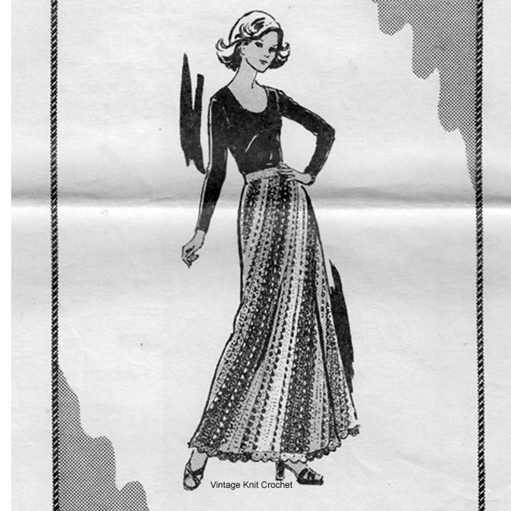 Mail Order Crochet Skirt Pattern, ankle length