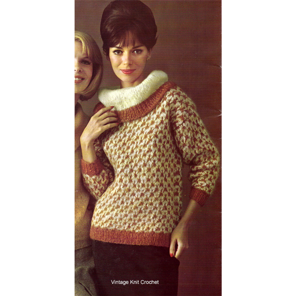 Knitted Cowl Neck Pullover Sweater Pattern