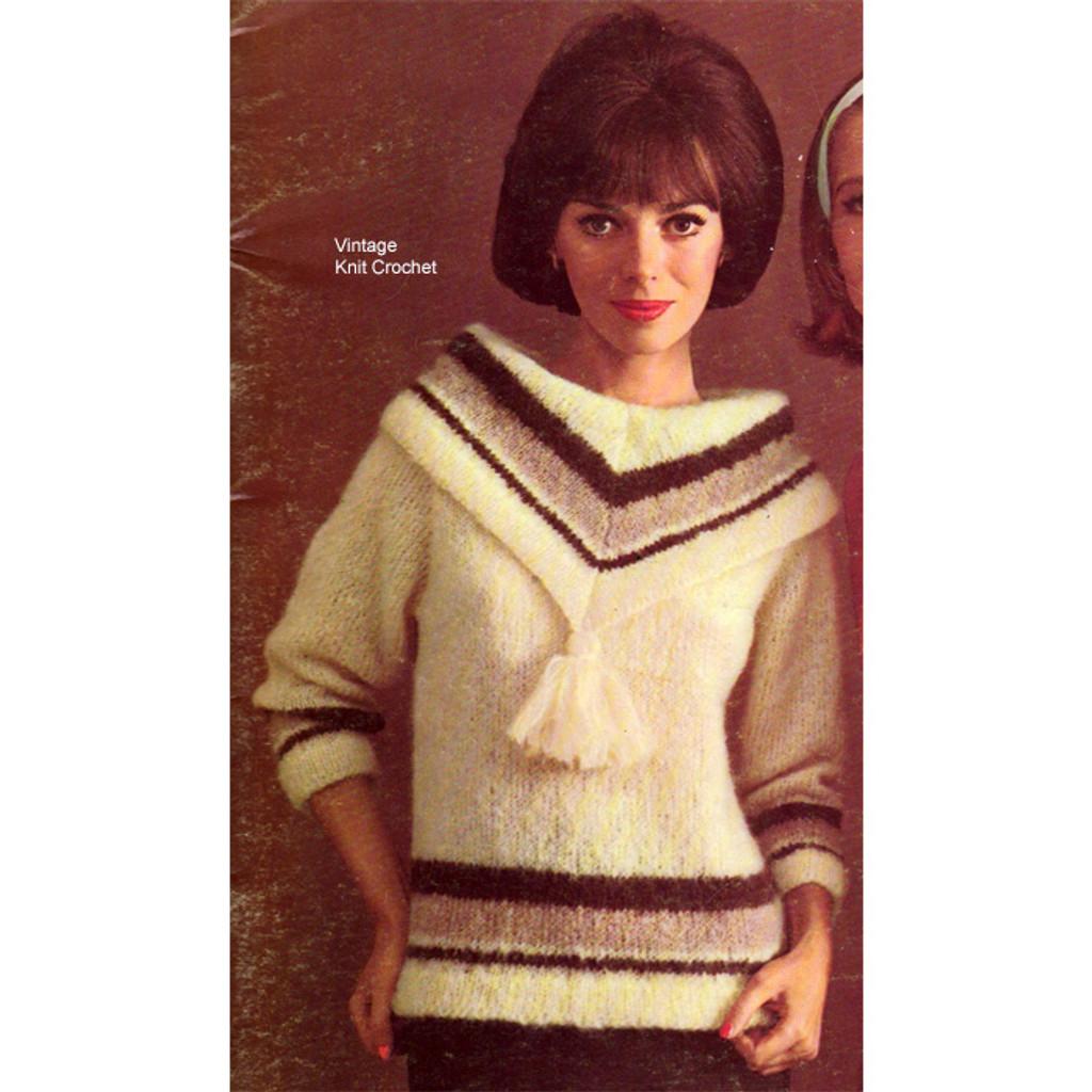 Mohair Sweater Knitting Pattern Tassel Cowl Neck