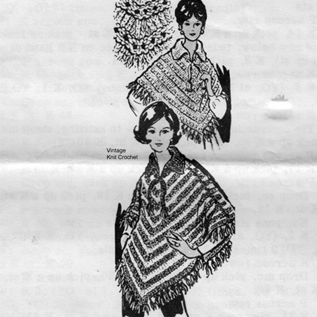 Mail order Striped Poncho Pattern No 7230