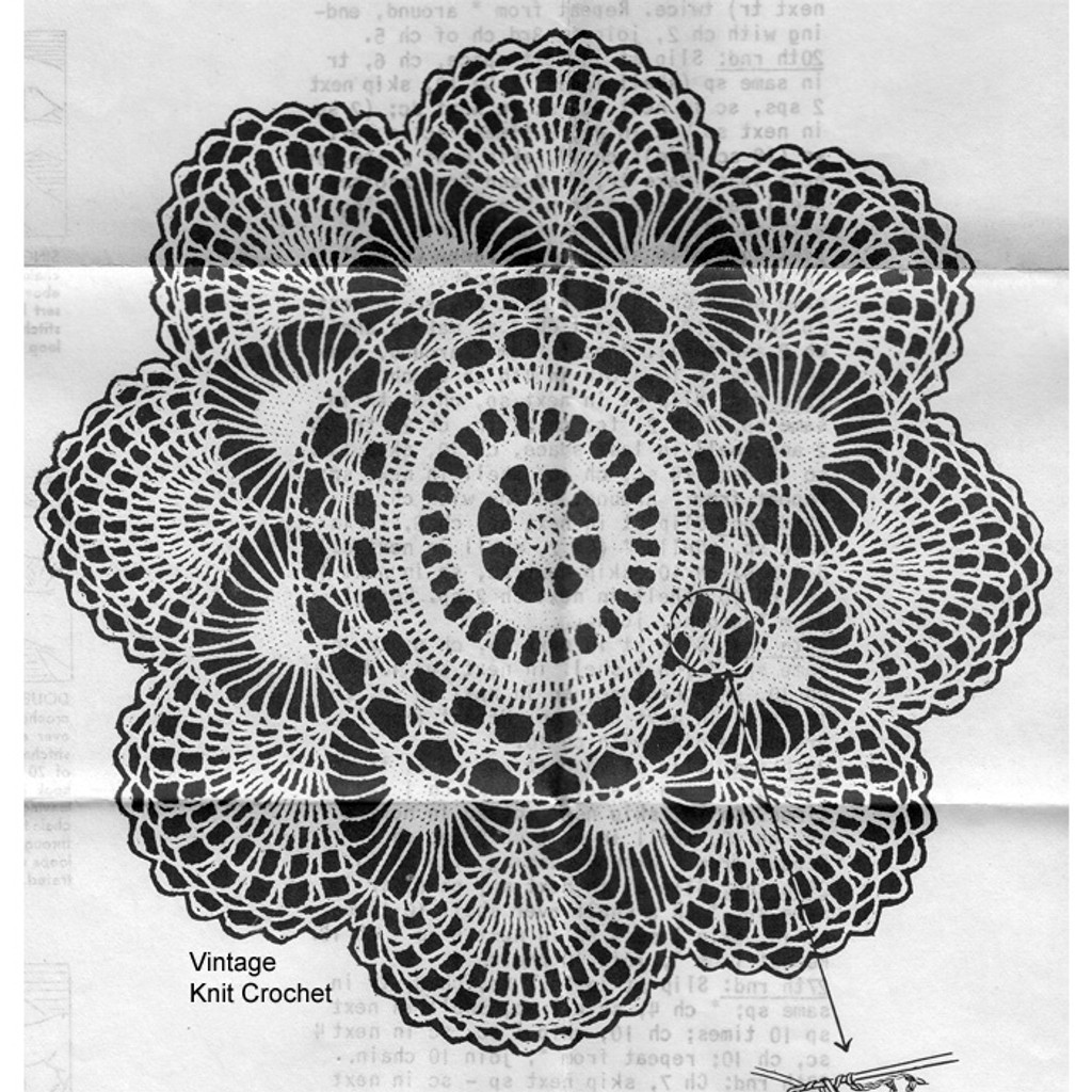 Vintage Fan Doily Crochet Pattern No 5675