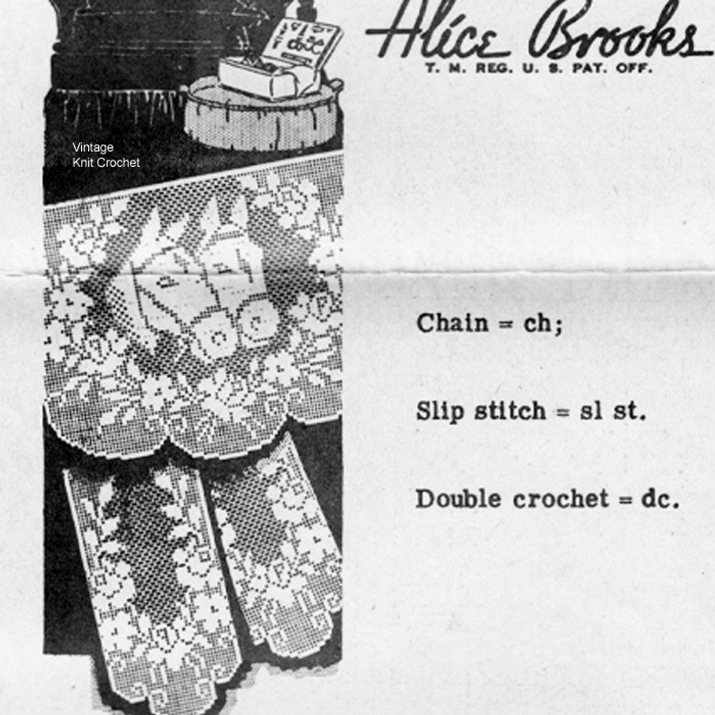 Vintage Filet Crochet Horse Chair Doily Pattern Set No 7236