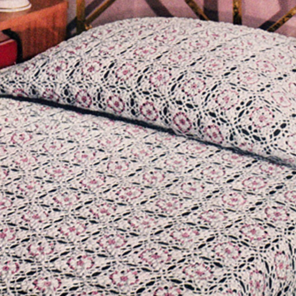 Vintage Crocheted Flower Block Medallion Bedspread pattern