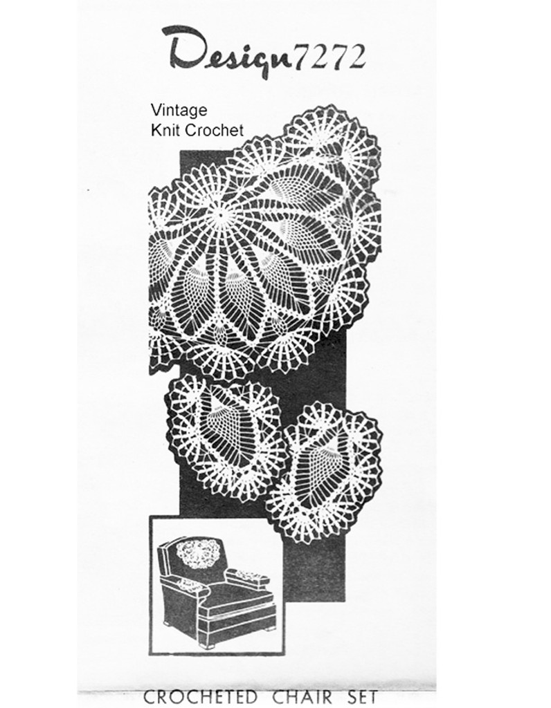 Pineapple Shell Crocheted Chair Doily Set Pattern, Mail Order 7272