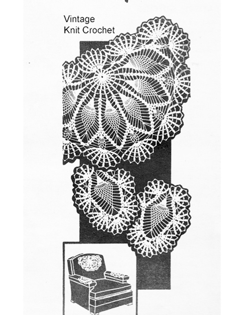 Vintage Mail Order Chair Set Pattern, Pineapples, Design 7272