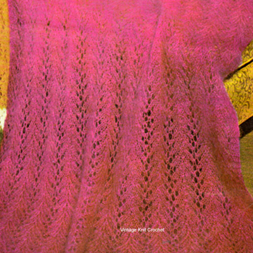 Knitted Mohair Afghan Pattern in four easy rows is available as a Free Download at Vintage Knit Crochet