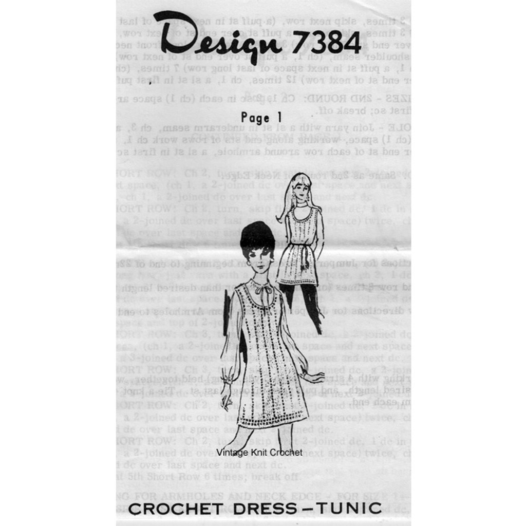 Crocheted Jumper Dress Pattern, Mail Order Design 7384