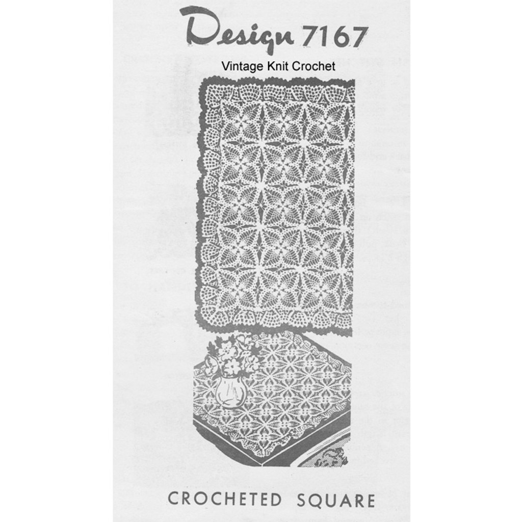 Mail Order Crochet Square Tablecloth Pattern No 7167 with ruffled border