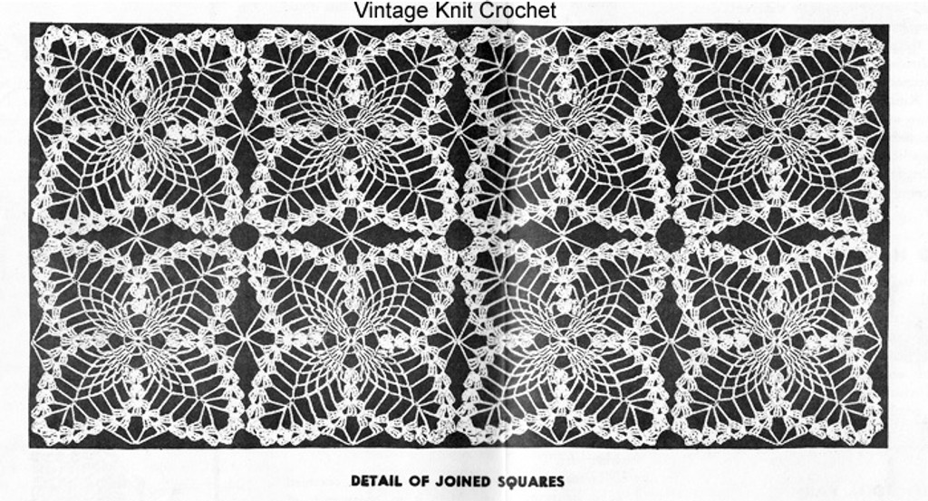Diagram of joined crochet pineapple squares