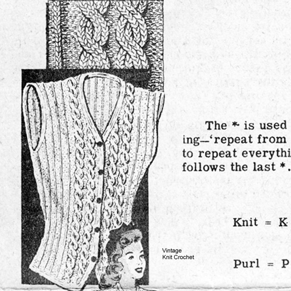 Cable Vest Knitting Pattern, Mail Order Design 7732