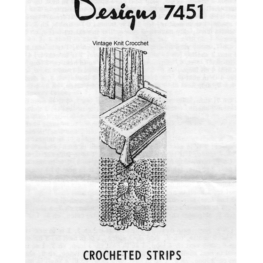 Crochet Bedspread Pattern, Pineapple Lace, Mail Order 7451