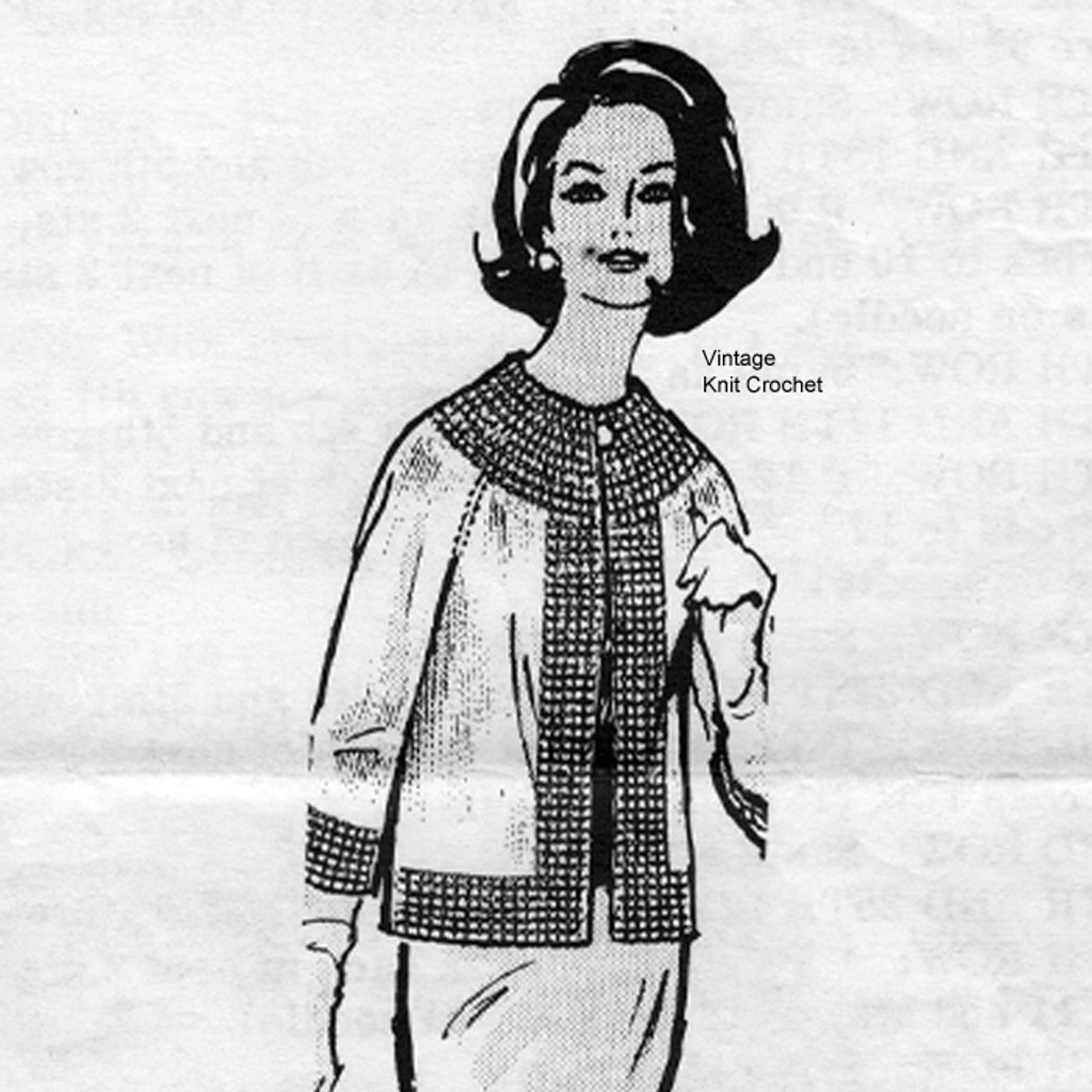 Alice Brooks 7349, Misses knitted jacket pattern in stockinette stitch