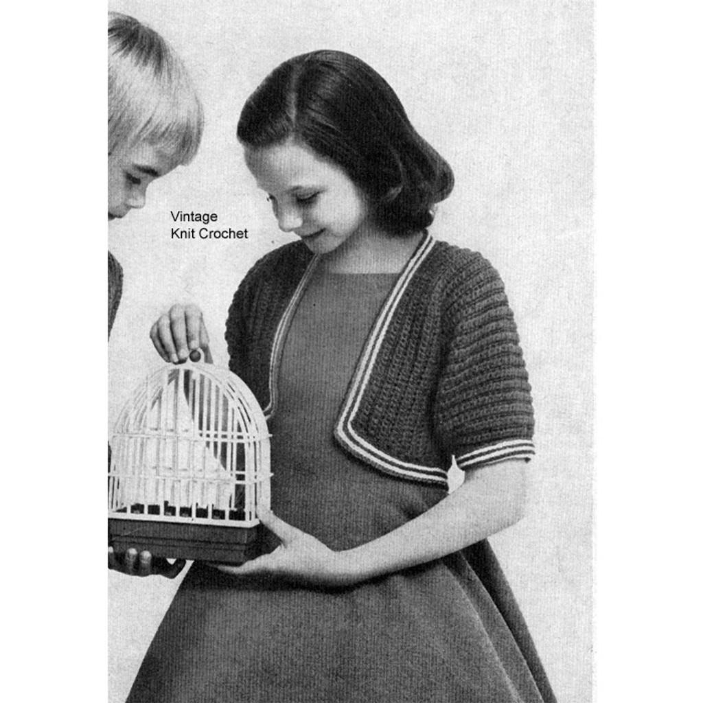 Girls Knitted Bolero Pattern, Striped Trim