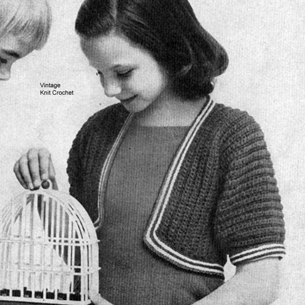 Vintage Girls Bolero Knitting Pattern in Puff Stitch